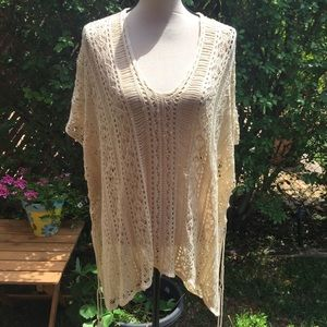 Ivory Open Knit Boho Beach Cover-Up, OS